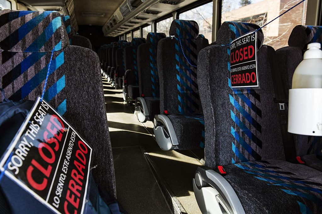 The first two rows of a RFTA bus is closed off to give the bus drivers distance from passengers due to the coronavirus on Thursday, March 12, 2020. (Kelsey Brunner/The Aspen Times)
