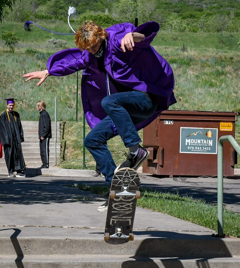 A 2020 Yampah Mountain High School graduate arrives in style to the drive-in graduation ceremony on Friday morning.