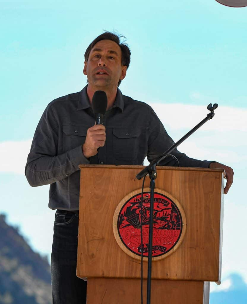 Adventurer and founder of No Barriers Erik Weihenmayer gave the commencement address for the Glenwood Springs High School drive-in graduation ceremony held at the Glenwood Springs Municipal Airport on Saturday morning.