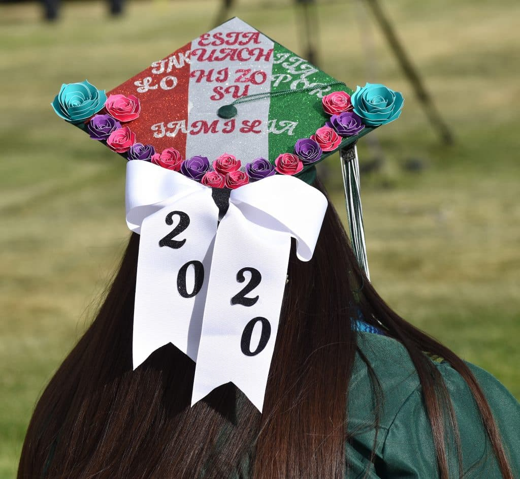 Bridges High School graduate Janneth Hernandez had one of the more ornately decorated caps during the school's graduation ceremony Friday evening in Carbondale.
