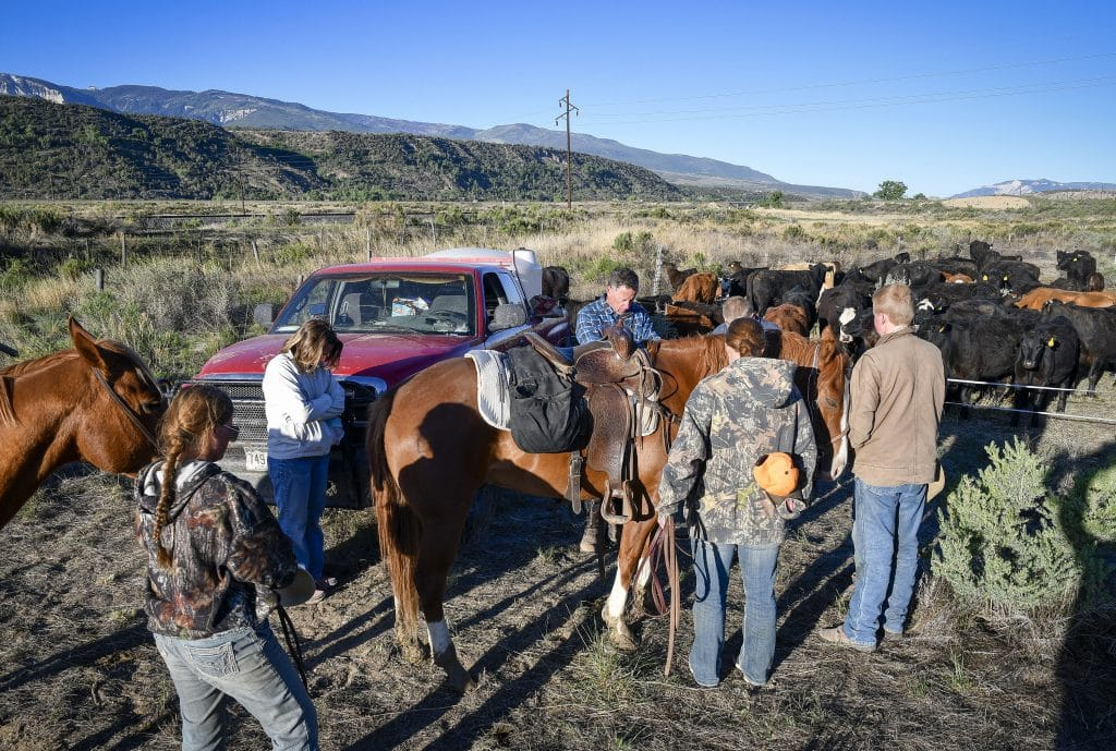 The group pauses for a moment to pray before setting out  on day seven of the cattle drive from De Beque to New Castle.