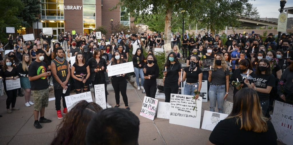 More than 200 people packed the plaza in front of the Rifle City Hall Tuesday for a Black Lives Matter vigil.