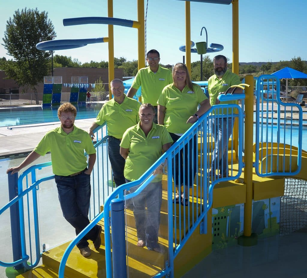 Rifle Metro Pool managment, from left, Colby Renoir, assistant manager, Tom Whitmore, parks and recreation director, Jessica Wilson, aquatics manager, Austin Rickstrew, recreation coordinator of aquatics, Shannon McKee, office manager, and Justin Blankey, pool manager.