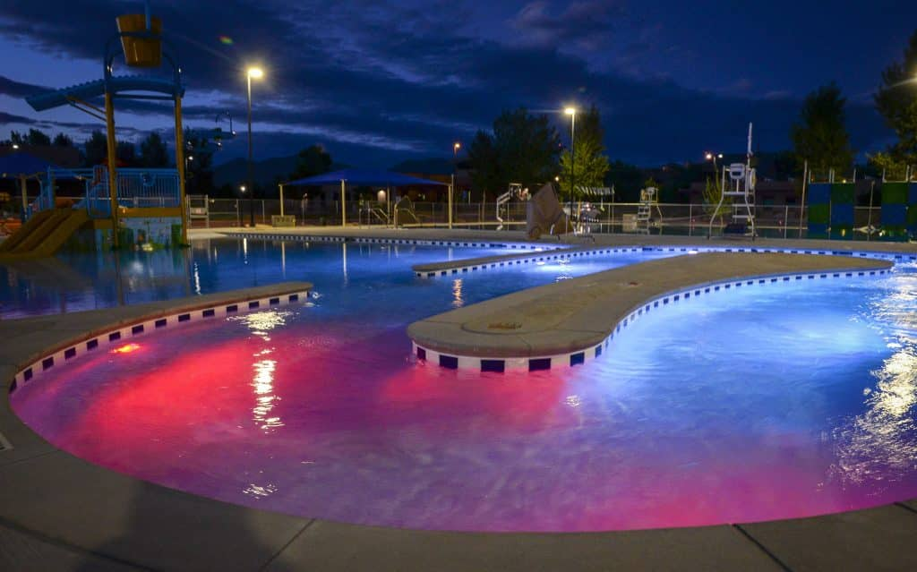 The new pool has state of the art light system for the faciltiy to host events in the evening.