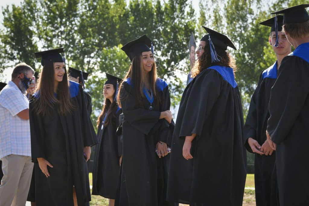Soon to be Coal Ridge High School graduates line up for their walk across the stage last Saturday in New Castle.