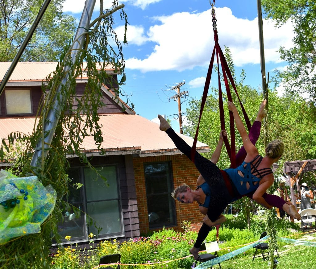 The Sopris Soarers aerial  dance group performs outside the Launch Pad Sunday afternoon.