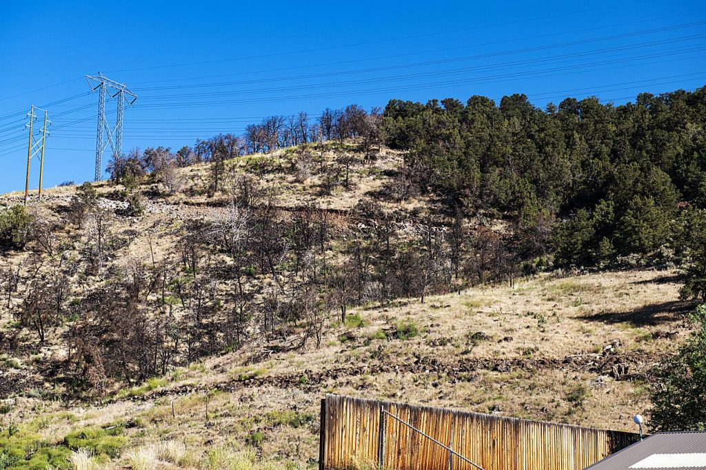 A road runs above the Basalt Public Shooting Range during phase one of a multi-year safety project to give access for fire mitigation above the range in El Jebel on Tuesday, June 30, 2020. (Kelsey Brunner/The Aspen Times)