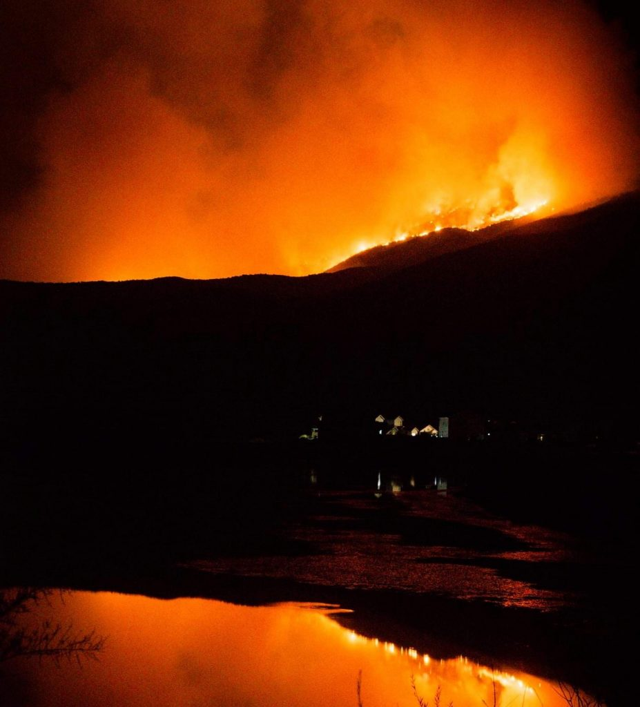 A view of the Grizzly Creek Fire from Dotsero taken Friday night. Dotsero is currently under pre-evacuation orders.