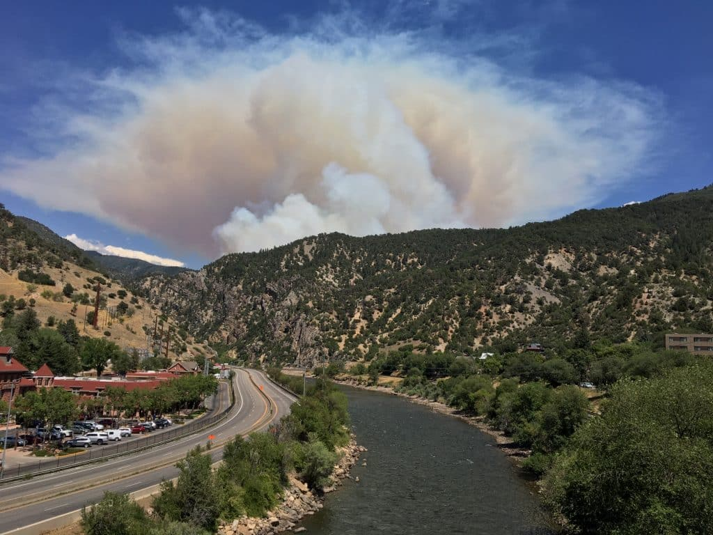 The Grizzly Creek Fire as seen from the Grand Avenue pedestrian bridge.