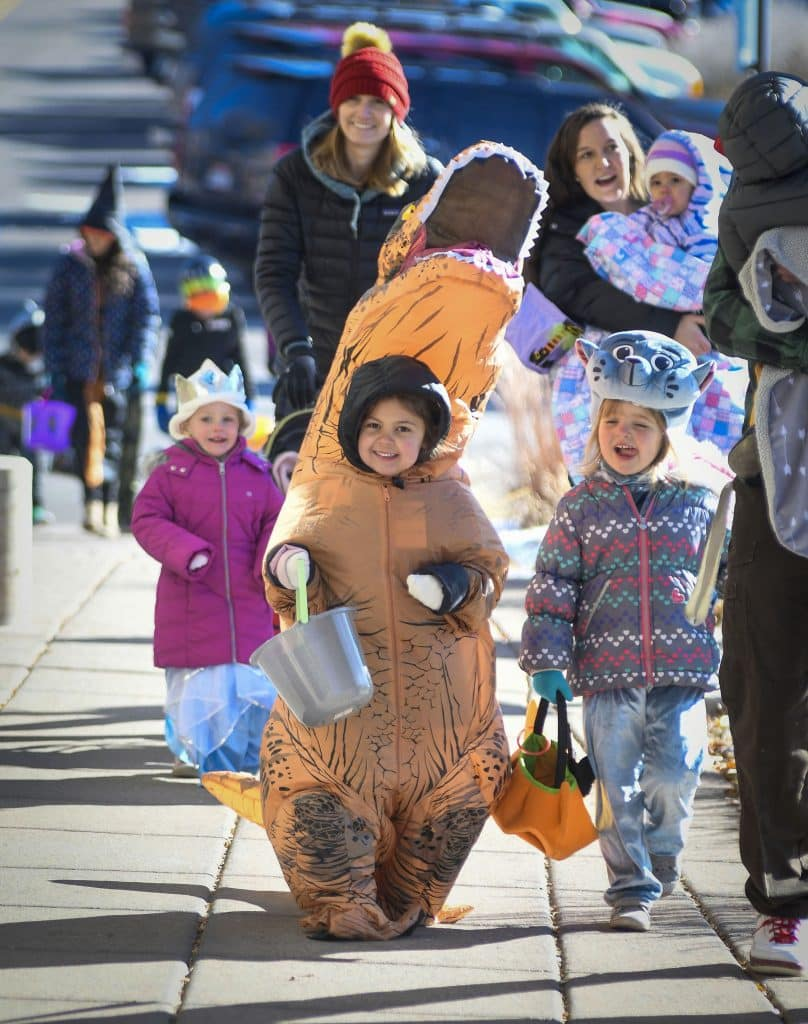 Children are all smiles as they make their way to the annual Trunk or Treat and Halloween parade at the Rifle City Hall and Library last Thursday.