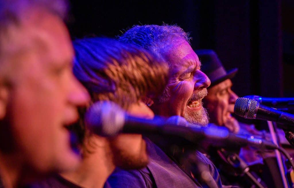 Keith Roberts, the lead singer of the Young Dubliners, belts out a tune as the American rock band plays there traditional show before St. Patrick's Day at the Ute Theater.