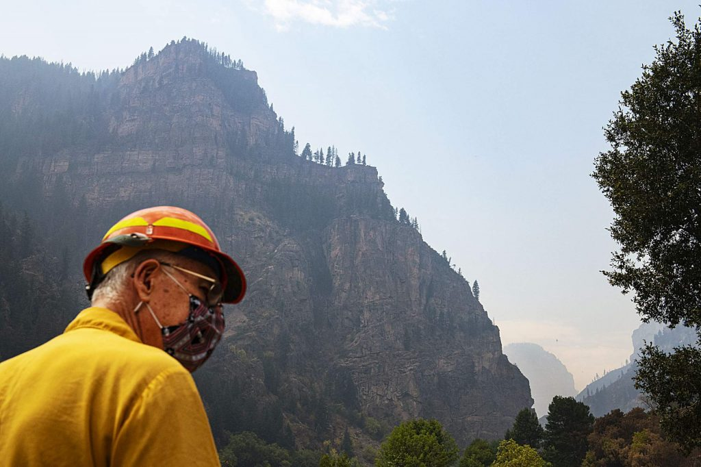 Public Information Officer Wayne Patterson walks on the path at the Hanging Lake Rest Area in Glenwood Canyon on Thursday, August 20, 2020. (Kelsey Brunner/The Aspen Times)