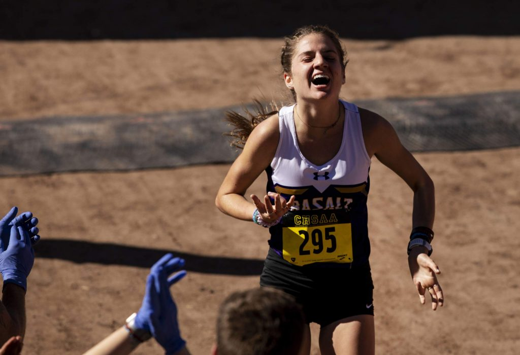 Basalt junior Sierra Bower reacts as she crosses the finish line in first place to win the Class 3A state championship with a time of 18:00.1 on Saturday, Oct. 26, 2019, at the Norris Penrose Event Center in Colorado Springs. (Chancey Bush/ The Gazette)