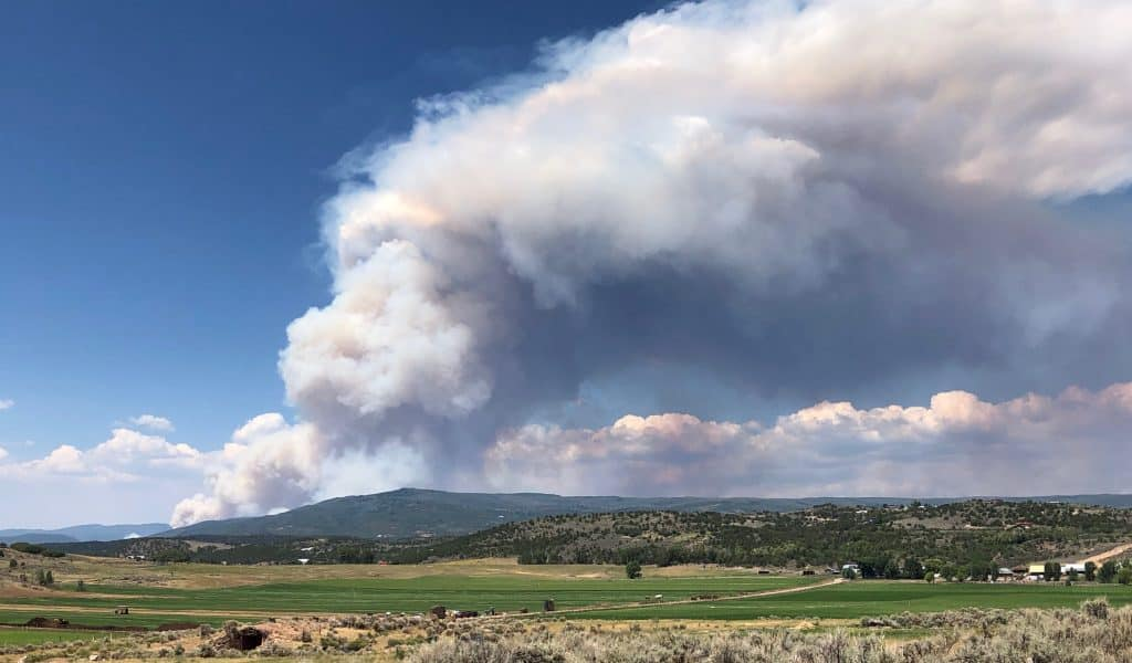 The plume of the Grizzly Creek Fire at Bair Ranch in Glenwood Canyon is visible from Missouri Heights Monday afternoon. Midvalley residents were on edge when the plume materialized because the fire seemed much closer to Missouri Heights.