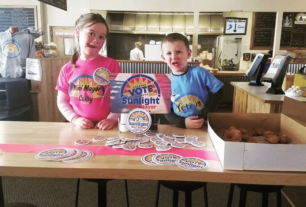 Colby Rogers, left, got some help with her Mini-Mayor campaign from her little brother, Kelby.