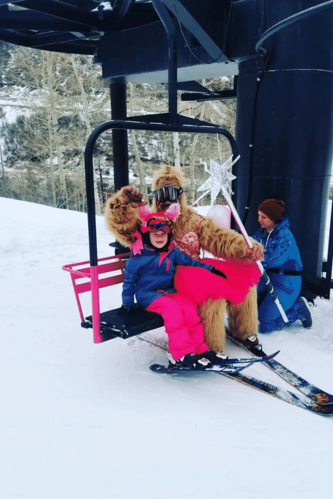 Colby Rogers succeeded in getting a chairlift at Sunlight Mountain Resort painted pink, one of her goals as Mini-Mayor.