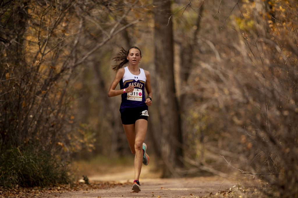 Basalt sophomore Katelyn Maley finishes in first place winning the 3A girls' state title during state cross country championships at the Norris-Penrose Event Center in Colorado Springs, Colo., on Saturday Oct. 17, 2020. (Chancey Bush/The Gazette)