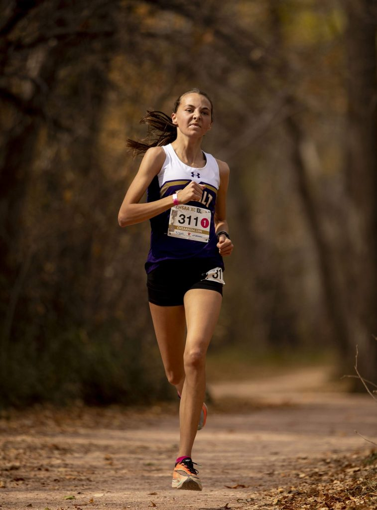Basalt sophomore Katelyn Maley finishes in first place winning the 3A girls' state title during state cross country championships at the Norris-Penrose Event Center in Colorado Springs on Saturday Oct. 17, 2020. (Chancey Bush/The Gazette)