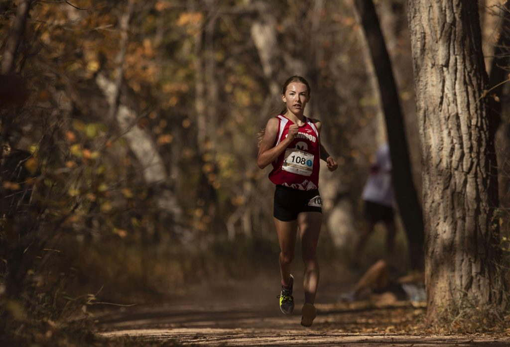 Glenwood junior Ella Johnson competes in the 4A girls' state cross country championships at the Norris-Penrose Event Center in Colorado Springs on Saturday Oct. 17, 2020. Johnson finished 3rd place. (Chancey Bush/ The Gazette)